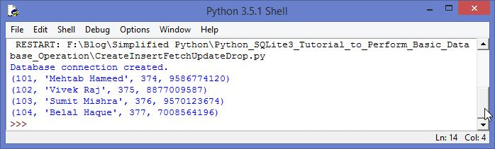 SQLite3 Python Tutorial Fetch Data Output