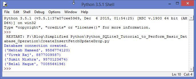 SQLite3 Python Tutorial Fetch Specific Data Output